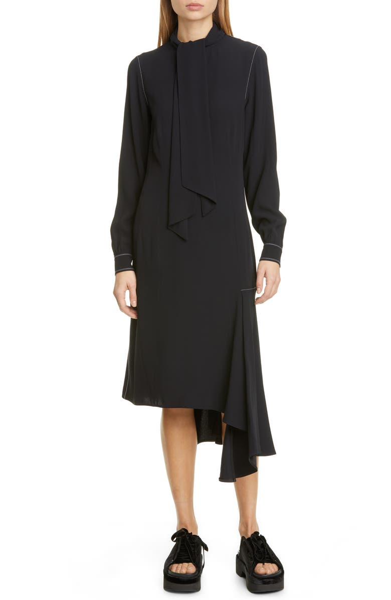 MARNI Asymmetrical Long Sleeve Satin Crepe Midi Dress, Main, color, DEEP BLUE