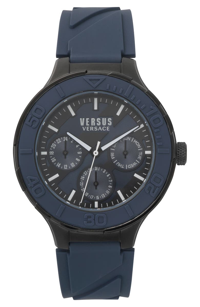 VERSUS VERSACE VERSUS by Versace Wynberg Silicone Strap Watch, 44mm, Main, color, 400