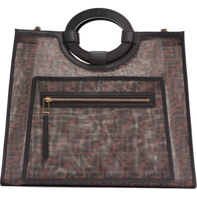 Fendi Medium Runaway Printed Logo Mesh Shopper - Brown
