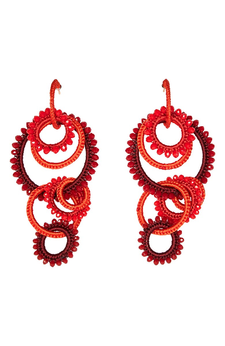 MIGNONNE GAVIGAN Tallulah Beaded Drop Earrings, Main, color, RED