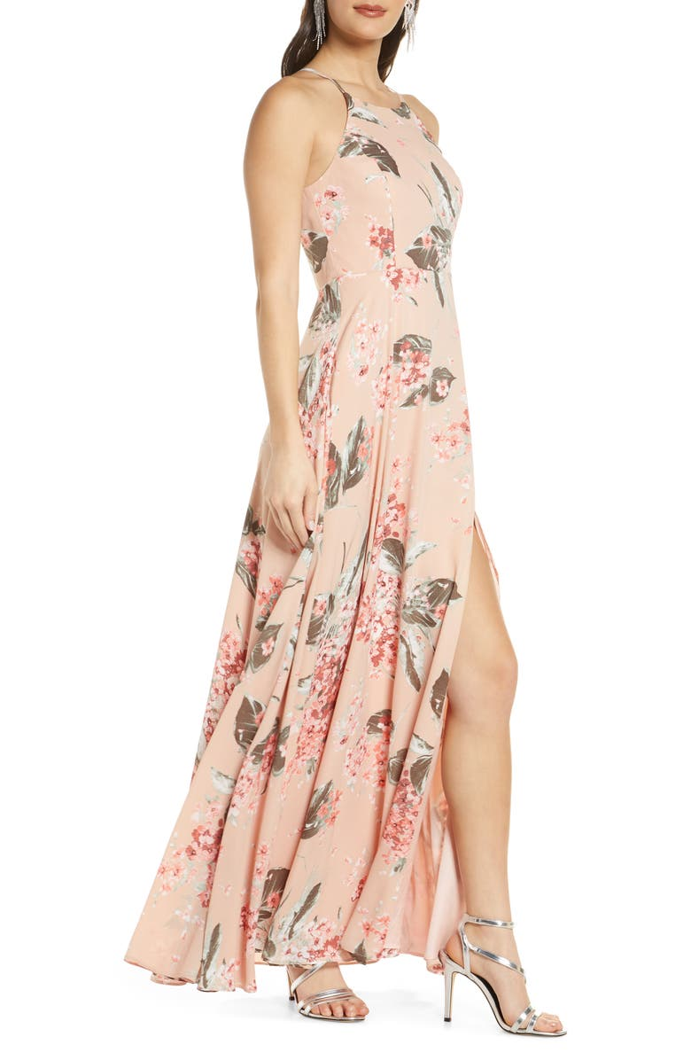 LULUS Daley Floral Print Chiffon Gown, Alternate, color, BLUSH/RED FLORAL