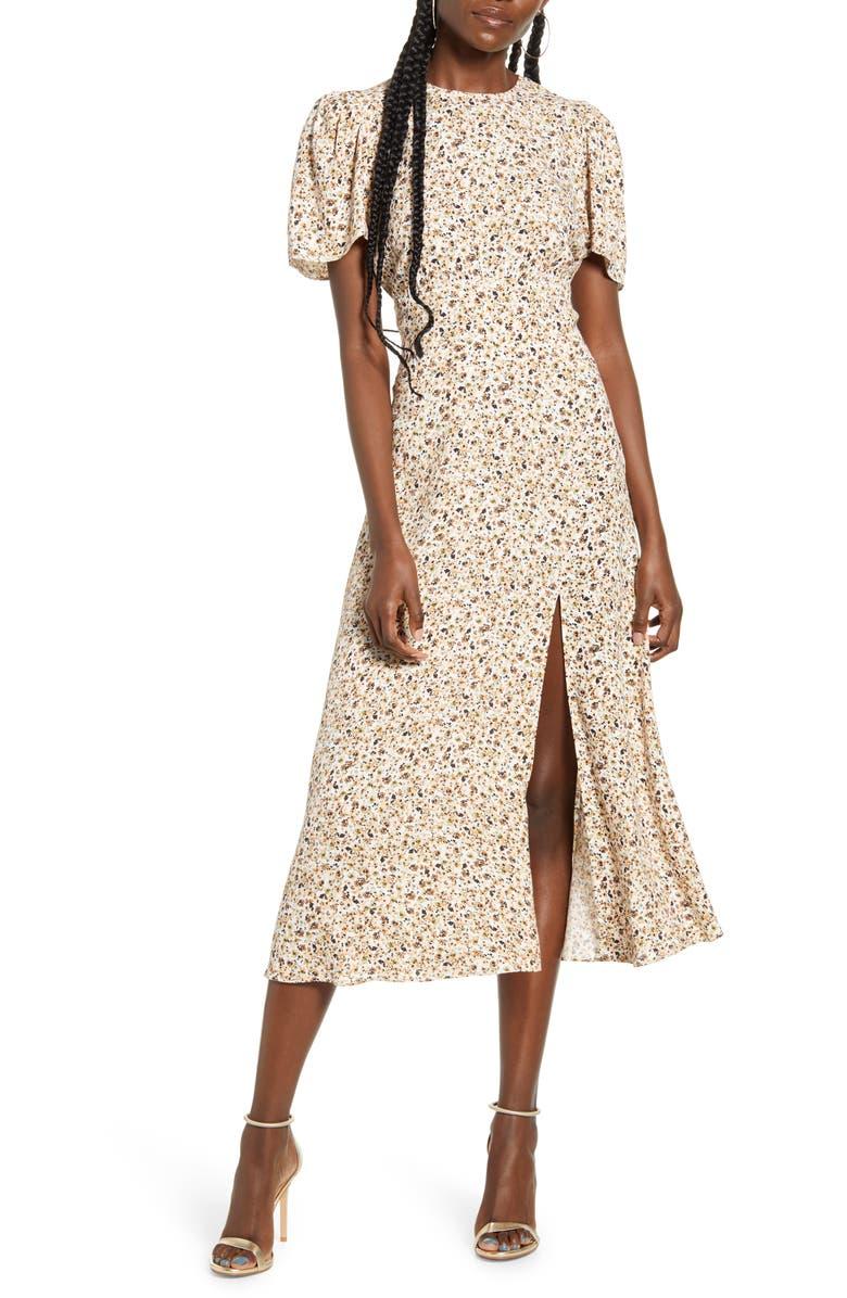 AFRM Jamie Print Open Back Short Sleeve Dress, Main, color, CAMEL DITSY