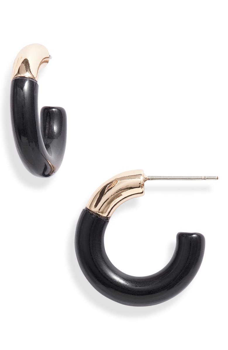 LELE SADOUGHI Small Arch Hoop Earrings, Main, color, JET