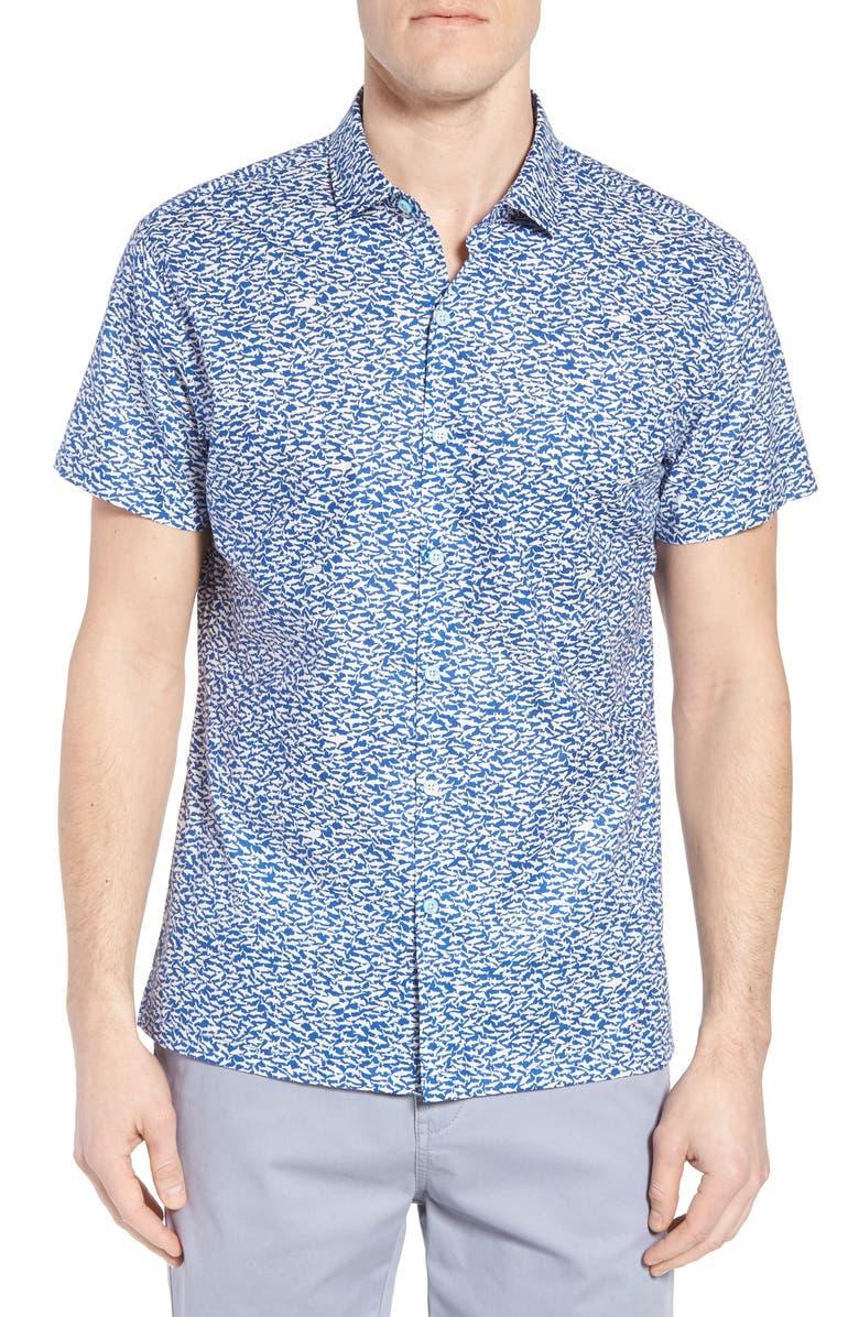 TORI RICHARD Shark Tank Regular Fit Shirt, Main, color, MARINA
