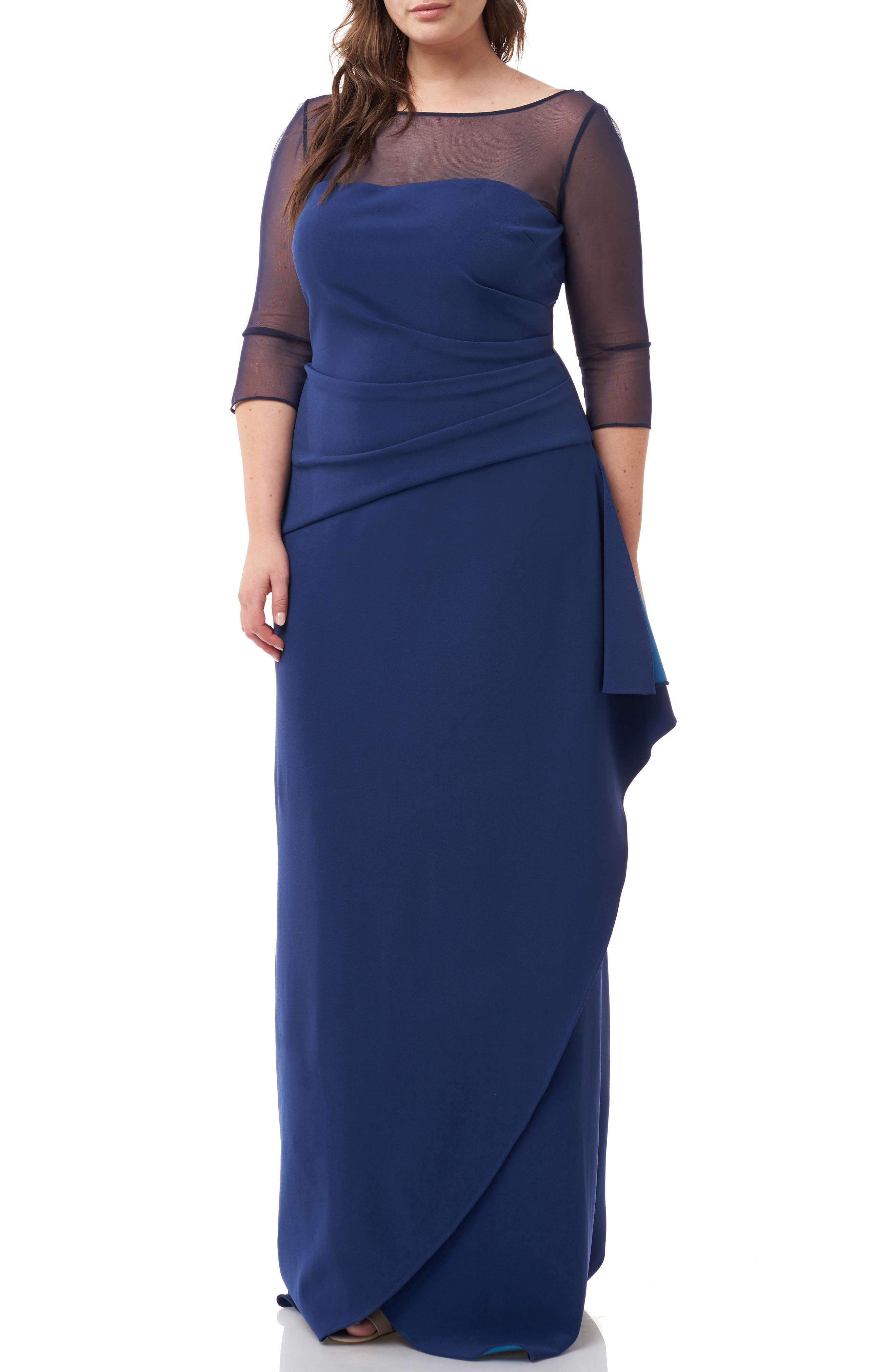 ,                             Ruched Crepe Evening Dress,                             Main thumbnail 1, color,                             NAVY TURQUOISE