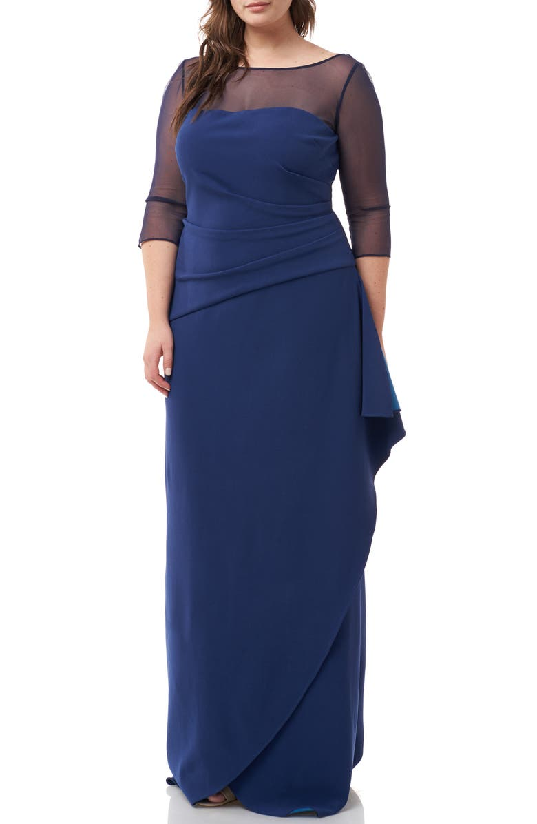 Ruched Crepe Evening Dress