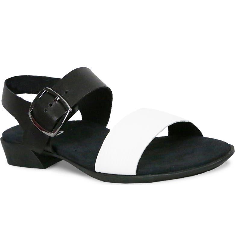 MUNRO Cleo Sandal, Main, color, WHITE/ BLACK LEATHER