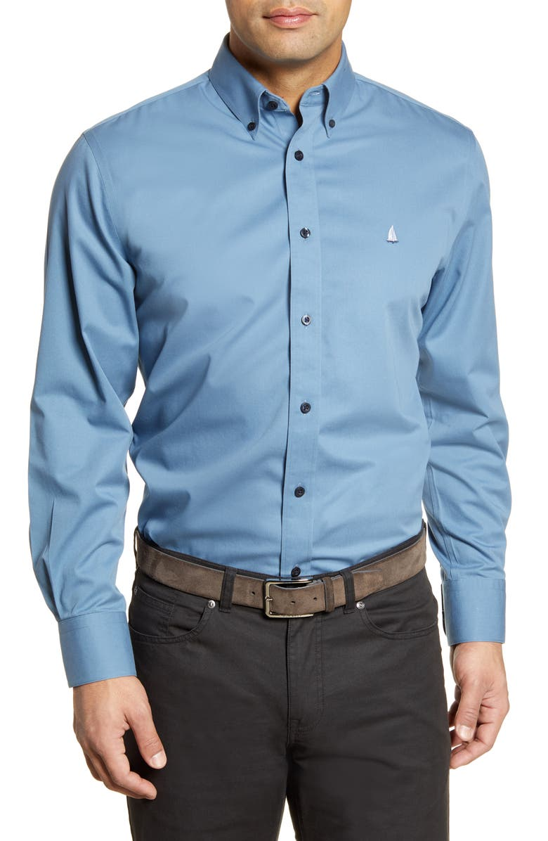 NORDSTROM MEN'S SHOP Smartcare<sup>™</sup> Traditional Fit Twill Boat Shirt, Main, color, BLUE CAPTAIN
