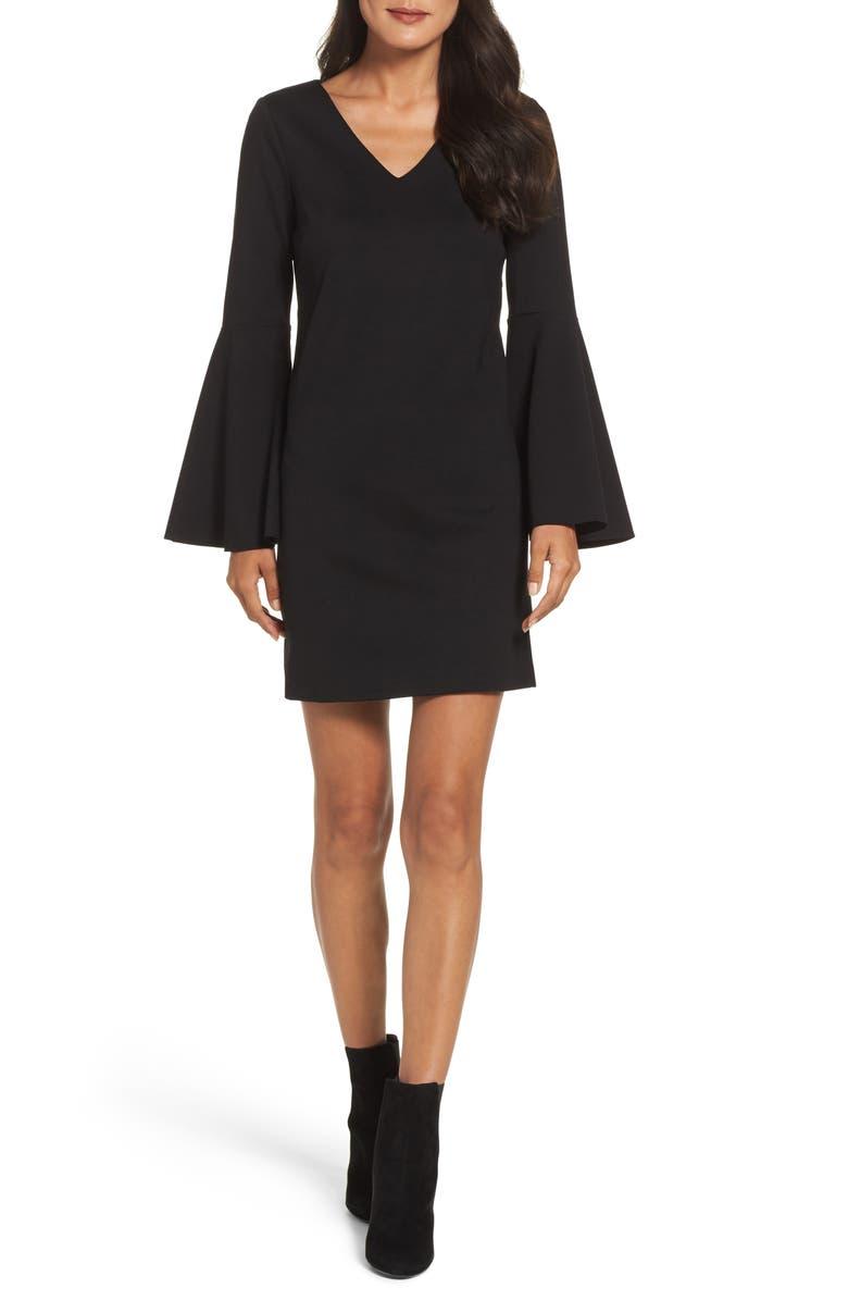 CECE Lizzie Bell Sleeve Sheath Dress, Main, color, 010
