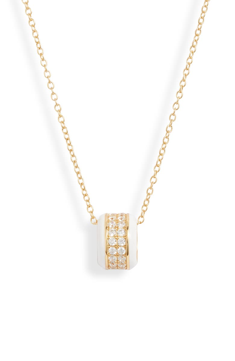 ARGENTO VIVO STERLING SILVER Argento Vivo Pavé Enamel Wheel Pendant Necklace, Main, color, WHITE/ GOLD