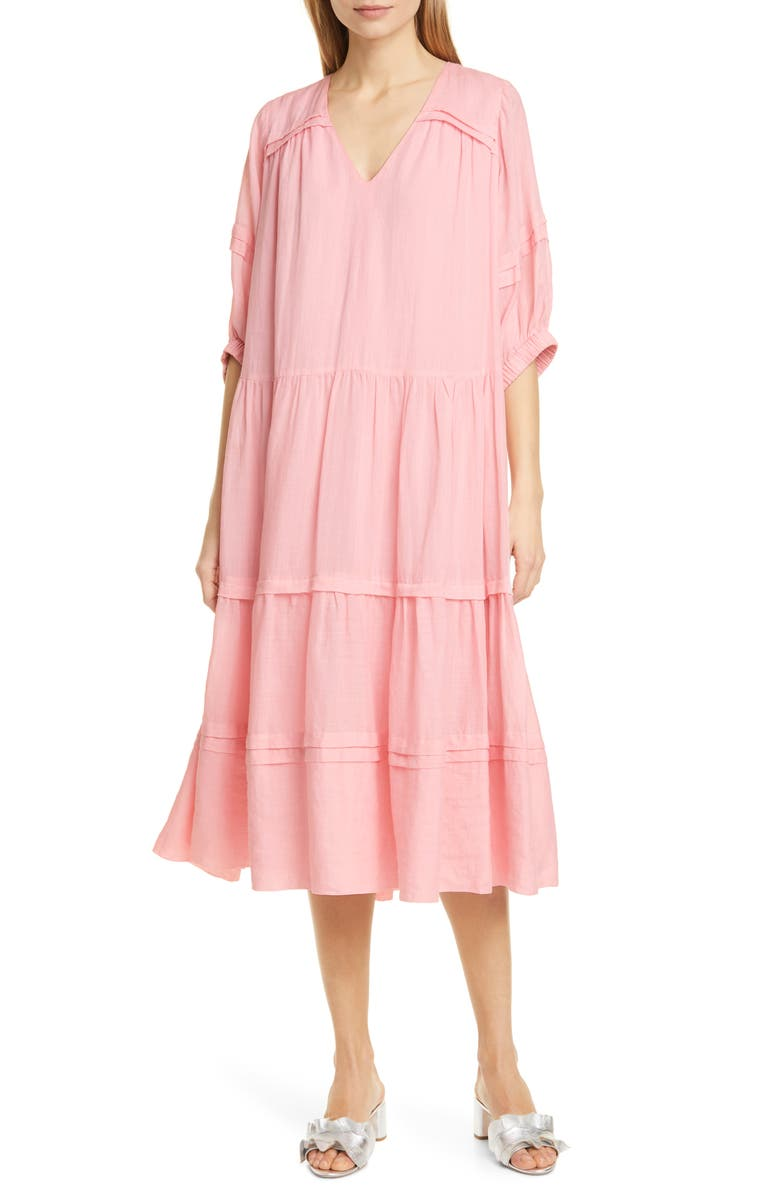 SEA Lucy Pleat Detail Tiered Cotton Midi Dress, Main, color, BLOOM
