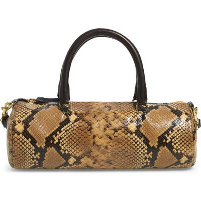 Clare V. Pepe Snake Embossed Goatskin Leather Barrel Baguette Bag - Brown