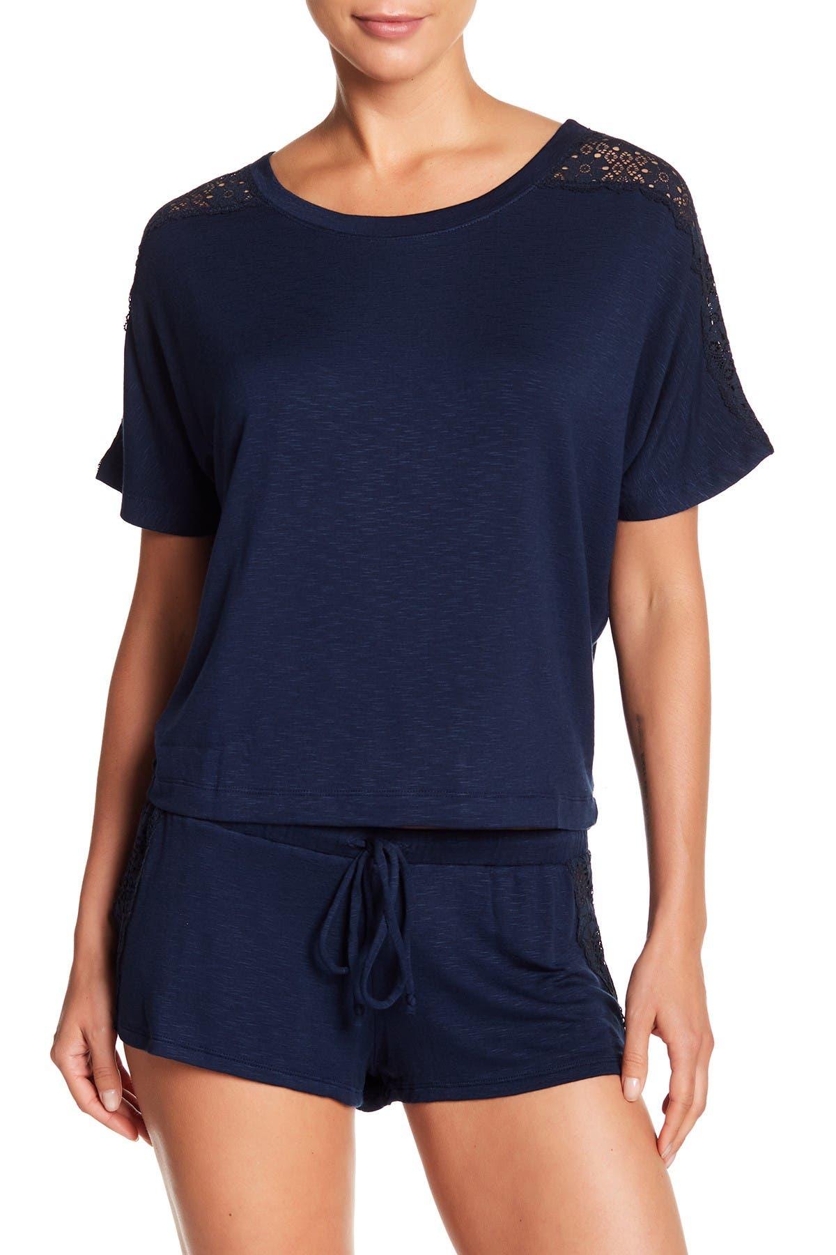 Image of Eberjey Cara Lace Shoulder T-Shirt