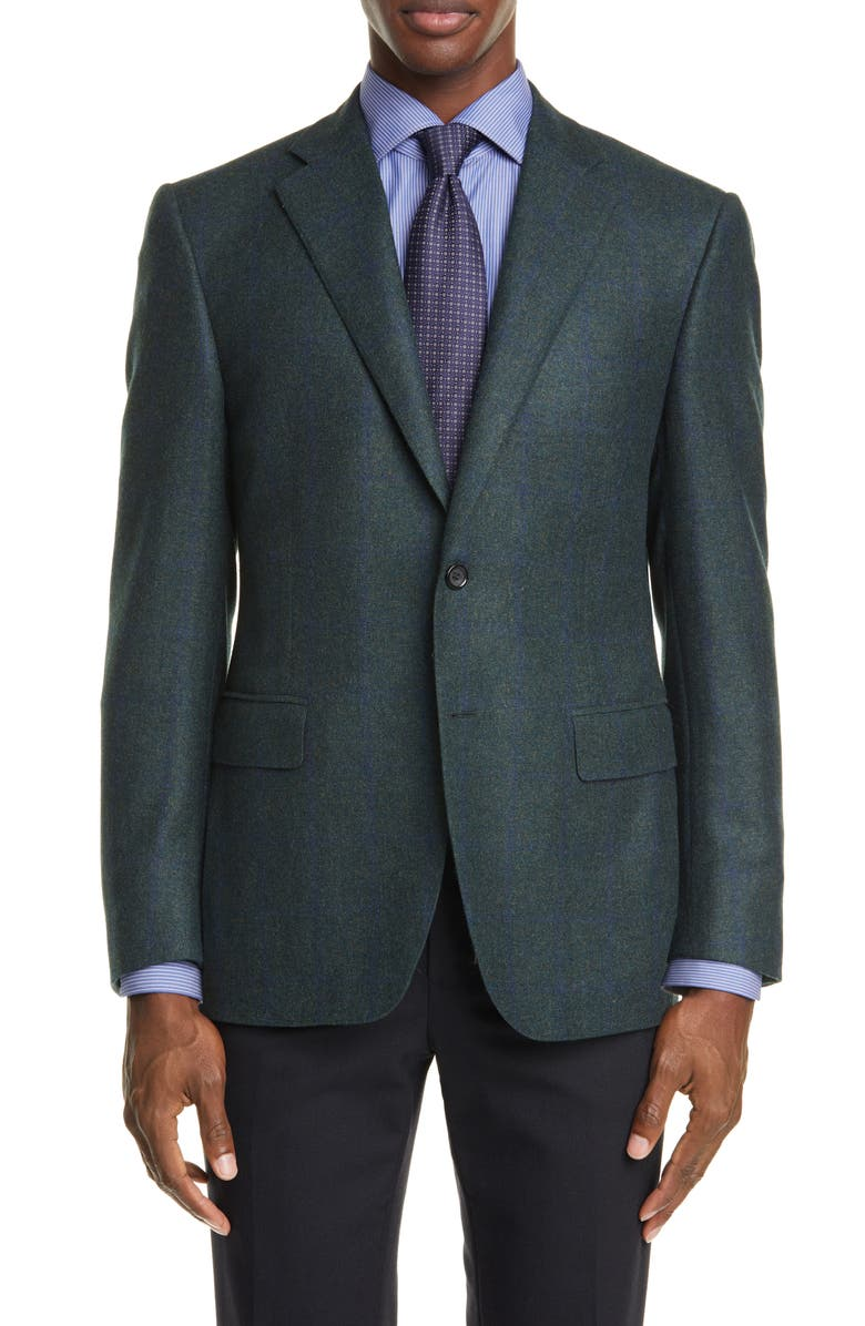 CANALI Sienna Soft Classic Fit Grid Cashmere Blend Sport Coat, Main, color, GREEN