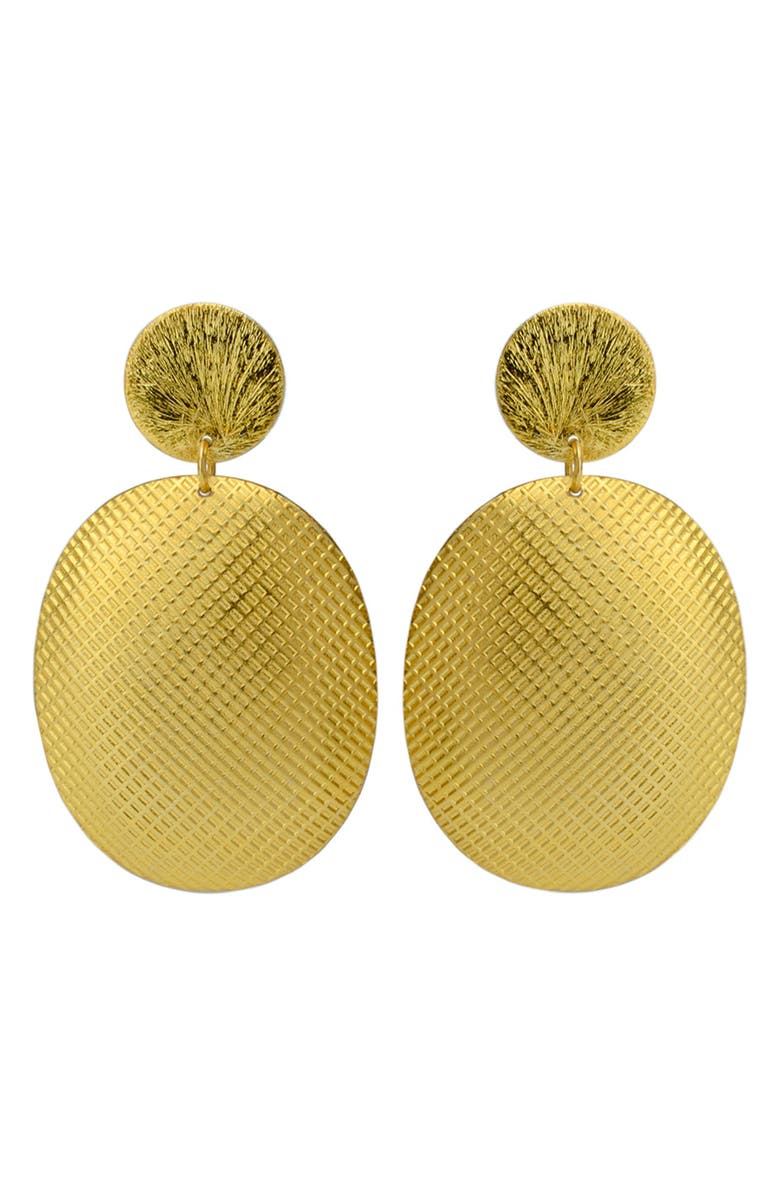 KAREN LONDON Fontana de Trevi Textured Drop Earrings, Main, color, GOLD