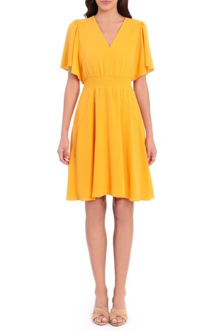 Image of Maggy London V-Neck Smock Waist Dress