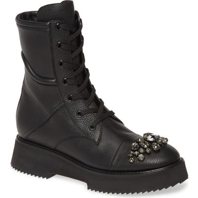 Jimmy Choo Hadley Jewel Combat Boot, Black