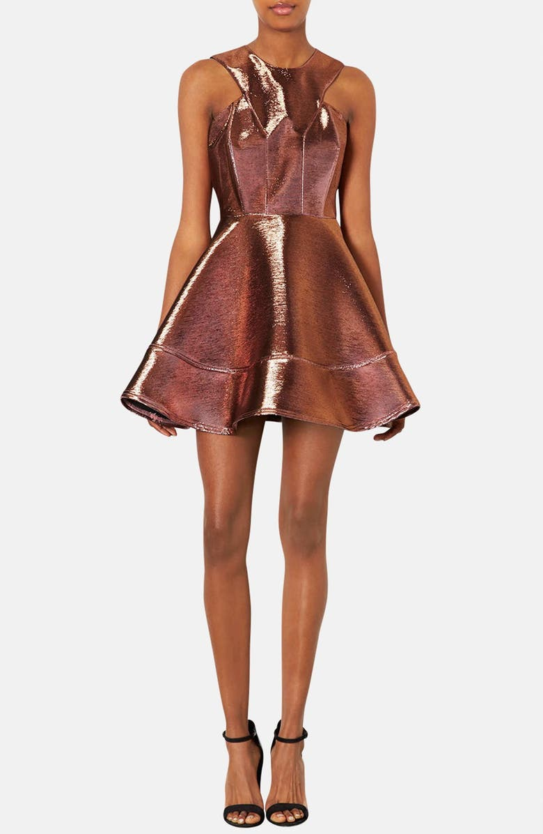 TOPSHOP Metallic Skater Dress, Main, color, 220