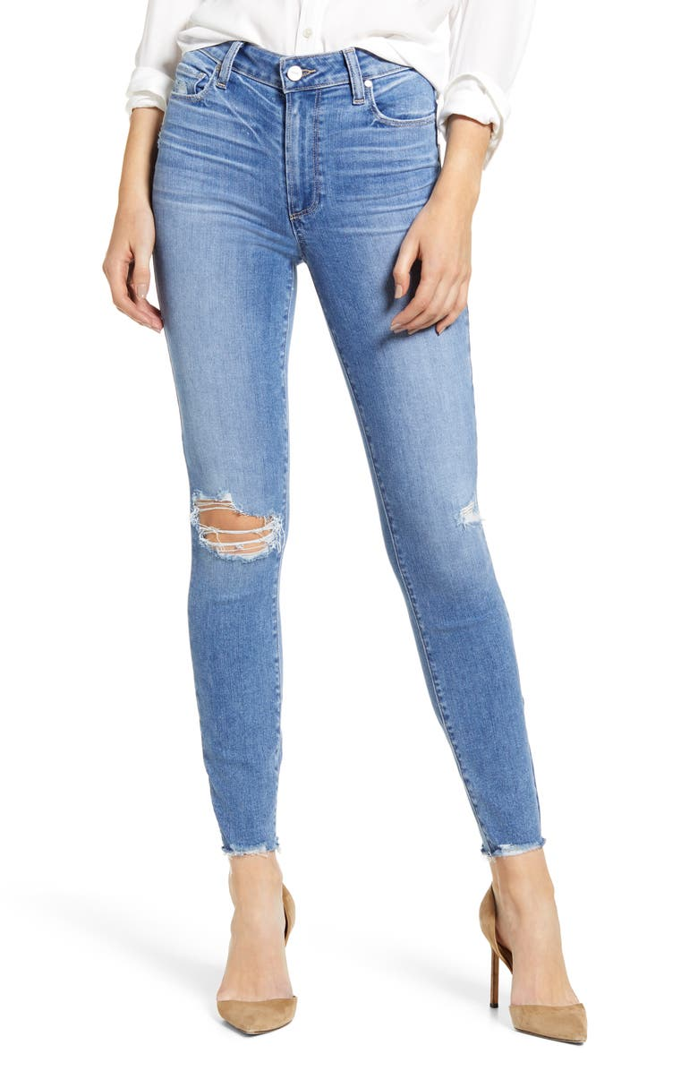 PAIGE Hoxton Ripped High Waist Ankle Skinny Jeans, Main, color, DEZI DESTRUCTED