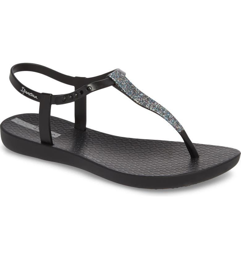 IPANEMA Shimmer T-Strap Sandal, Main, color, BLACK/ BLACK