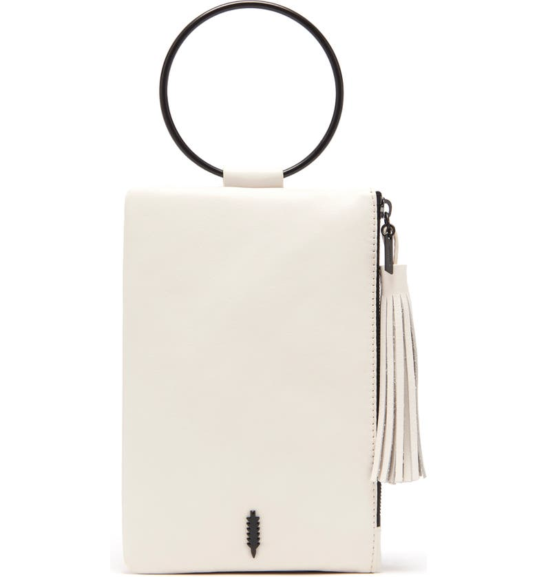 THACKER Nolita Ring Handle Leather Clutch, Main, color, 101