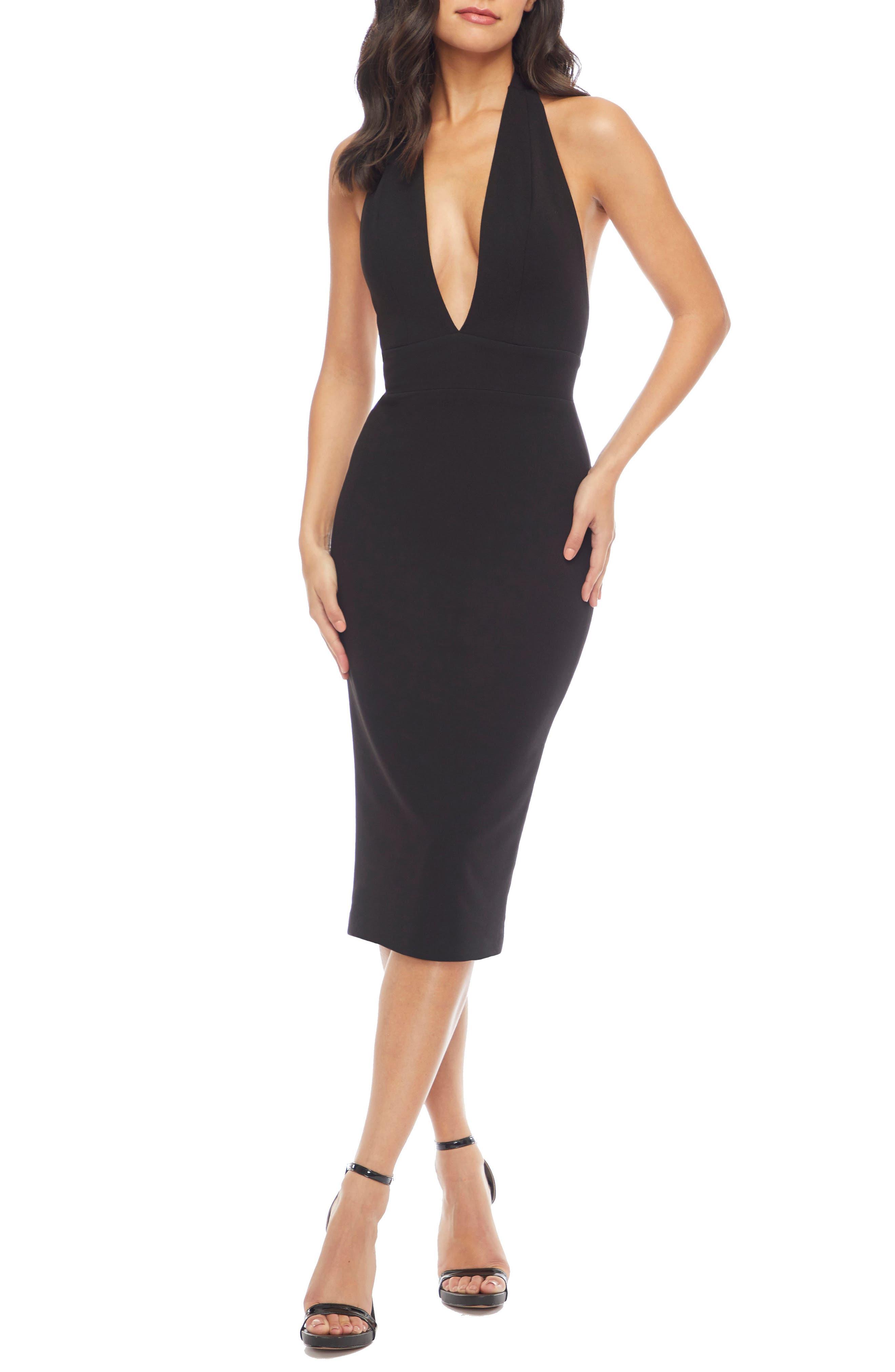 Dress the Population Vanessa Halter Body-Con Midi Dress (Regular & Plus Size)