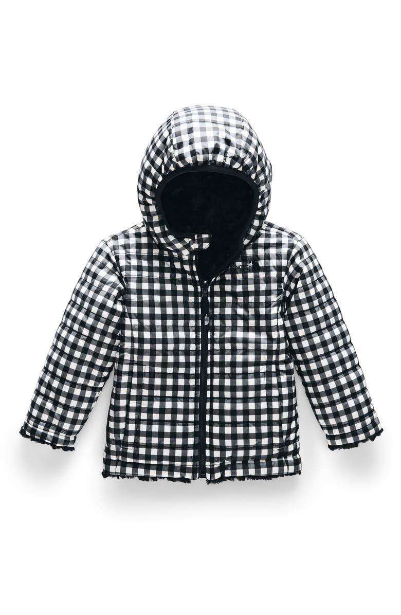 THE NORTH FACE Mossbud Swirl Reversible Water Repellent Heatseeker<sup>™</sup> Jacket, Main, color, TNF BLACK GINGHAM PRINT