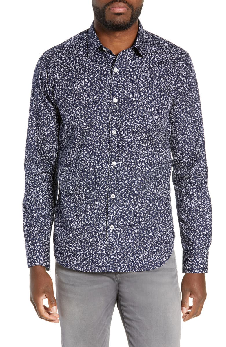 JEFF Gig Harbor Slim Fit Floral Print Shirt, Main, color, 409