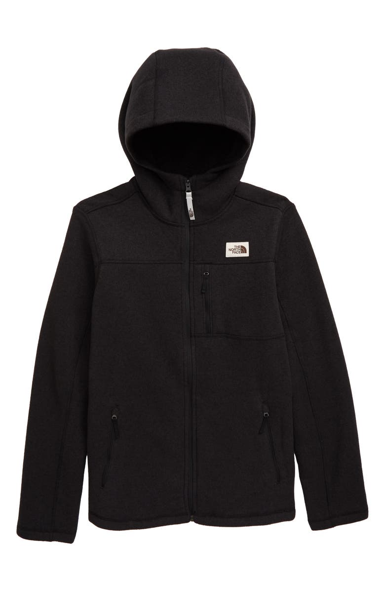 THE NORTH FACE Gordon Lyons Fleece Hooded Zip Jacket, Main, color, TNF BLACK HEATHER