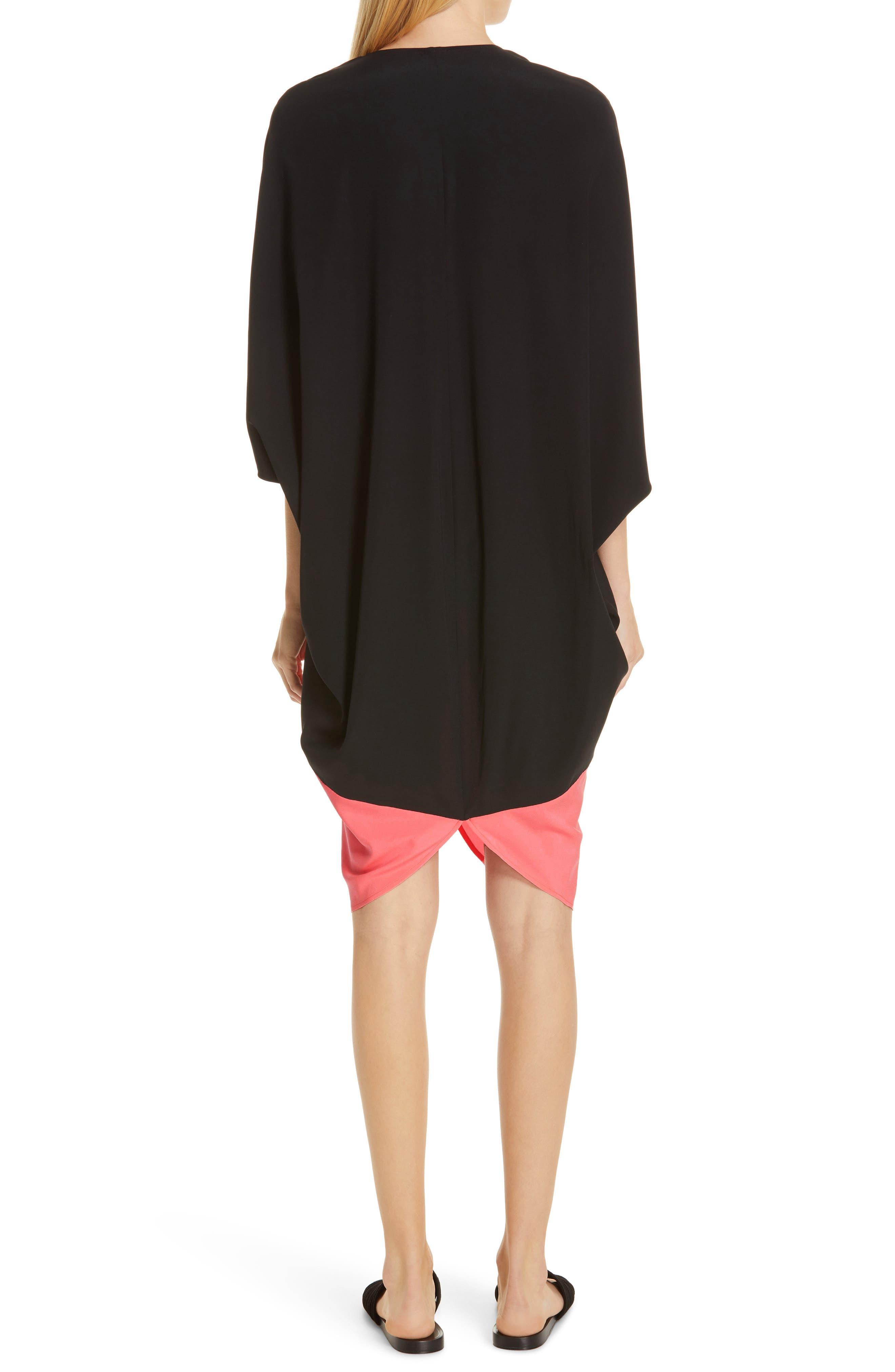 ,                             Koya Colorblock Stretch Silk Dress,                             Alternate thumbnail 2, color,                             BLACK/ NEON ROSE