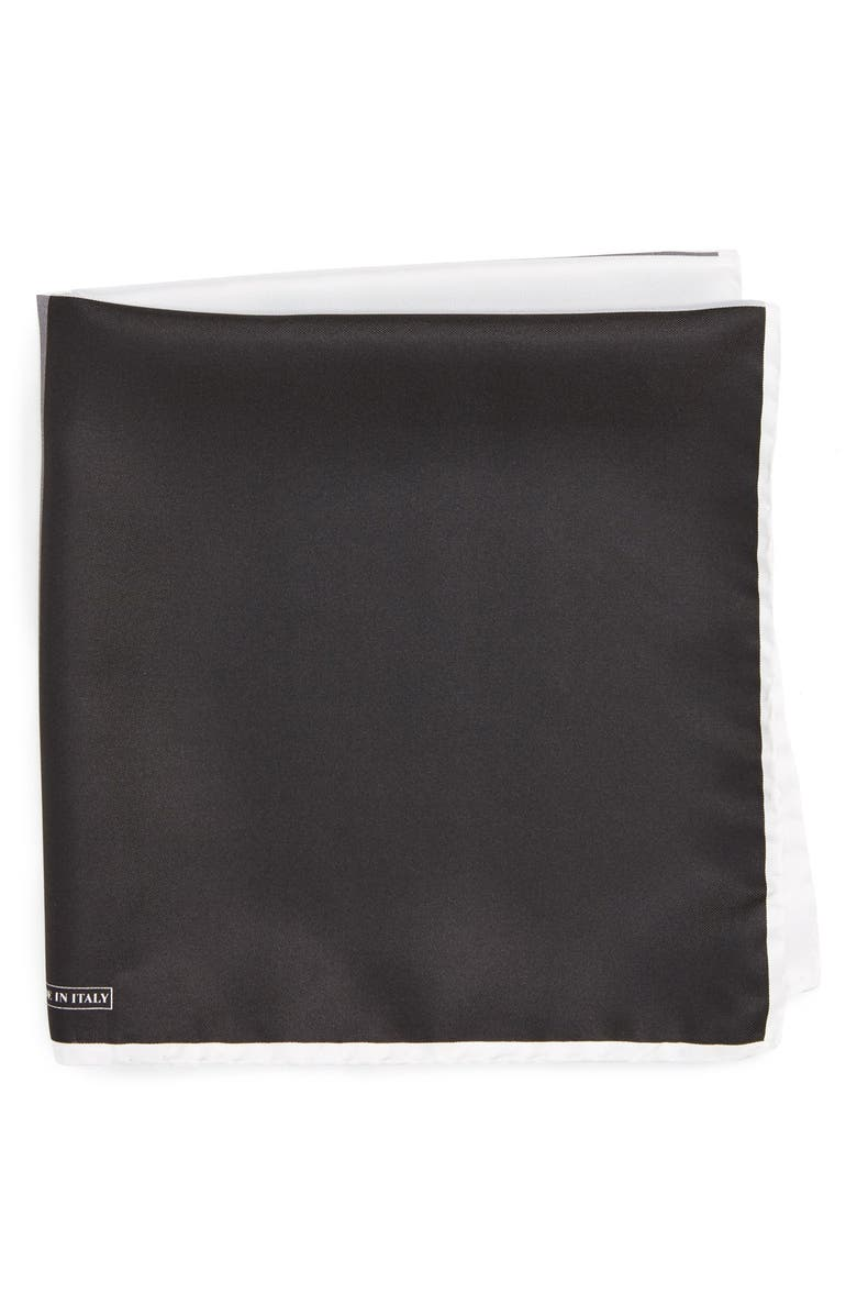 NORDSTROM MEN'S SHOP Silk Pocket Square, Main, color, BLACK