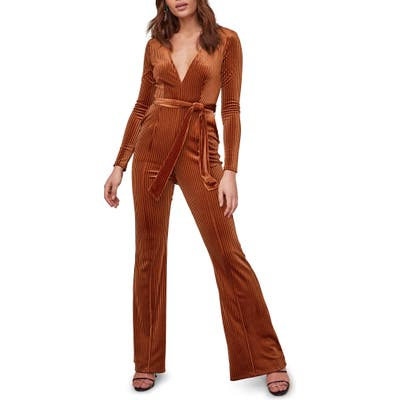 Astr The Label Cadence Ribbed Velvet Jumpsuit, Metallic
