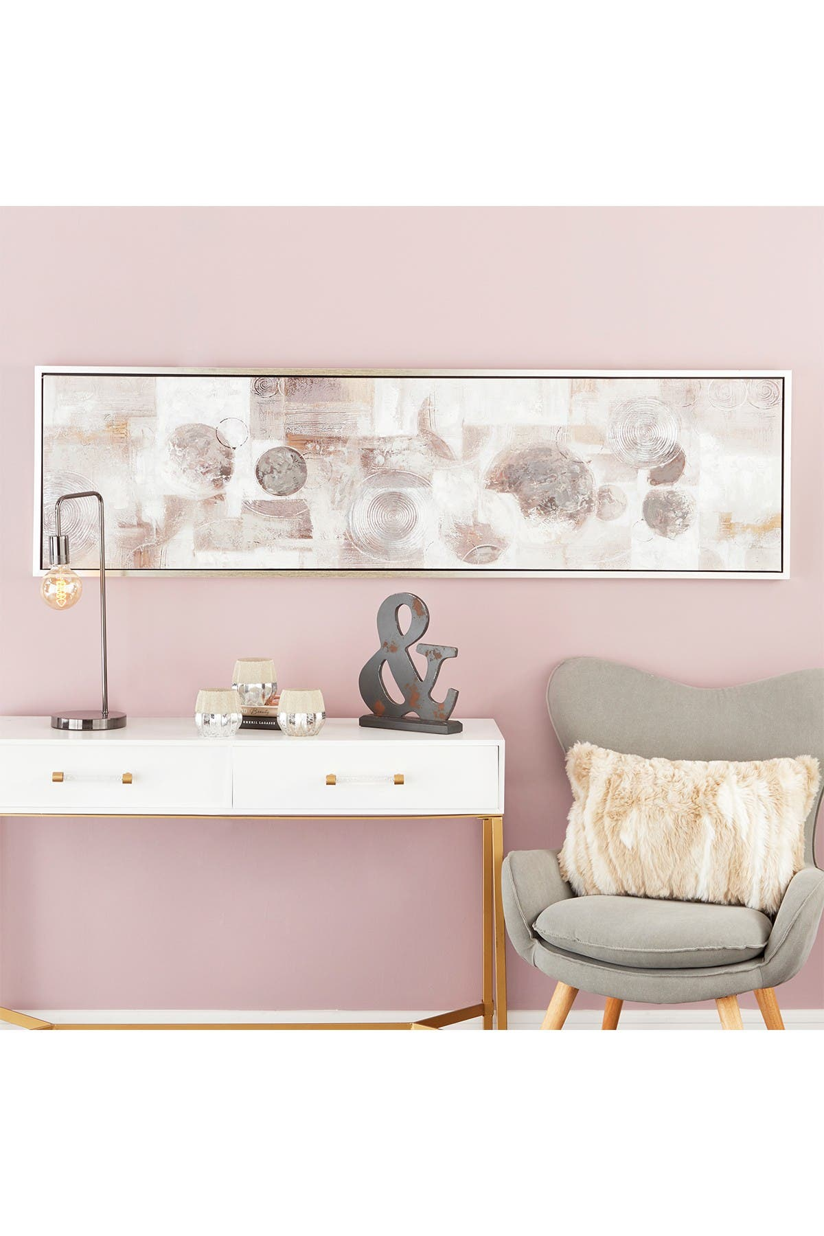 Image of CosmoLiving by Cosmopolitan Large Rectangular Gray, Black & White Abstract Circles Framed Contemporary Painting