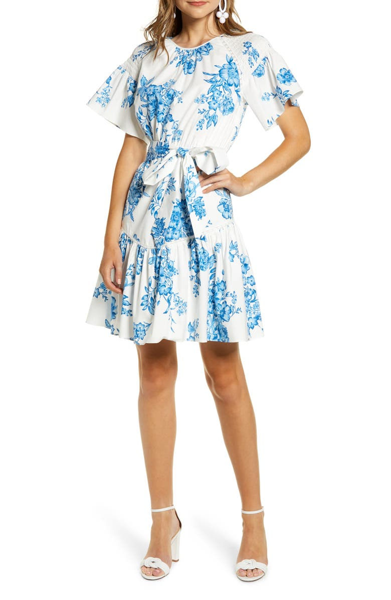 RACHEL PARCELL Ruffle Front Tie Stretch Cotton Dress, Main, color, BLUE AIR MED BOUQUET