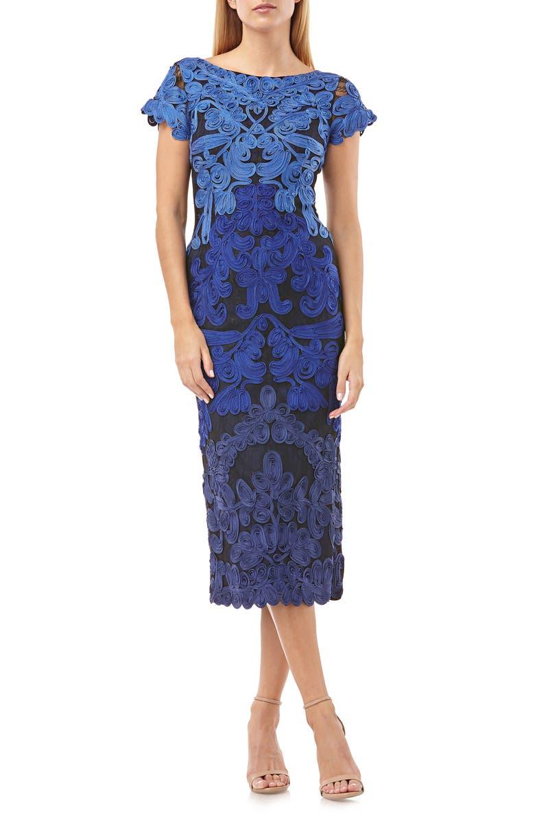 JS COLLECTIONS Soutache Lace Midi Dress, Main, color, ROYAL NAVY