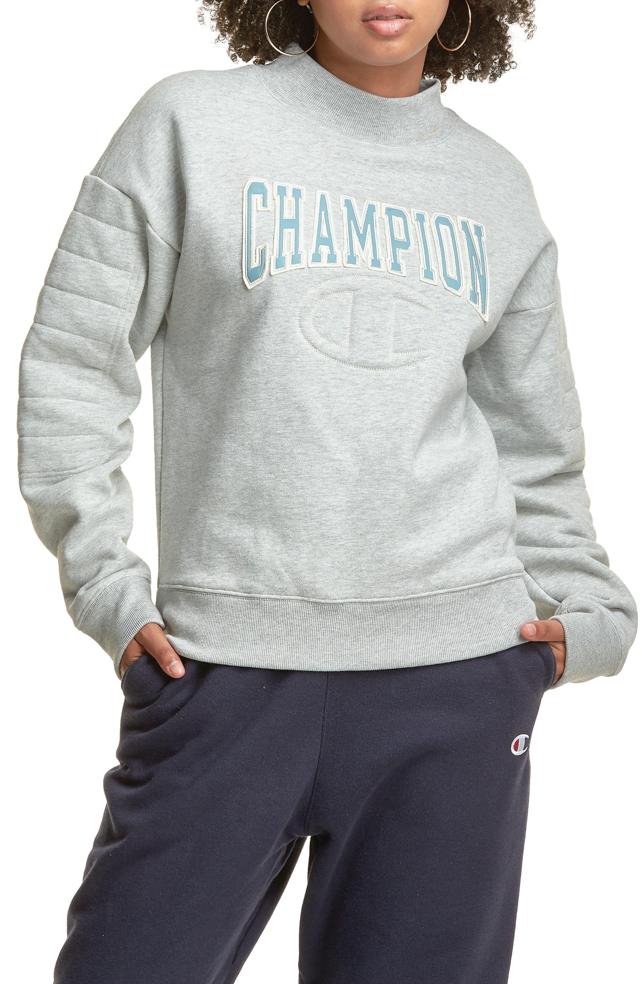 Champion Reverse Weave® Quilted Mock Neck Sweatshirt | Nordstrom