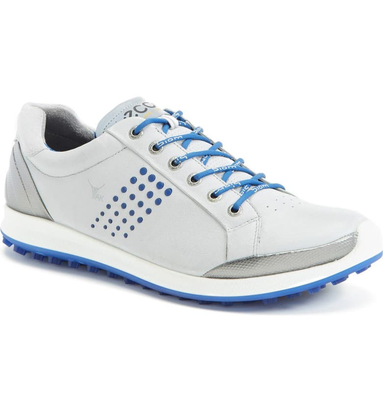 ECCO BIOM Hybrid 2 Golf Shoe, Main, color, CONCRETE/ ROYAL