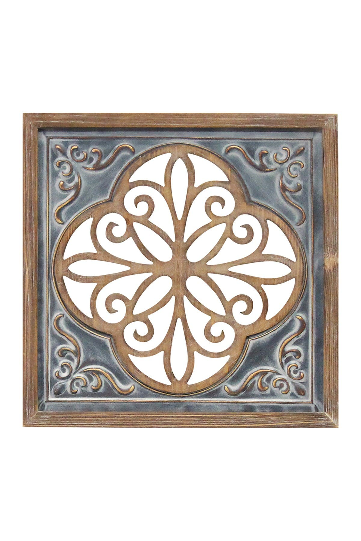Image of Stratton Home Wood And Metal Blue Square Wall Decor