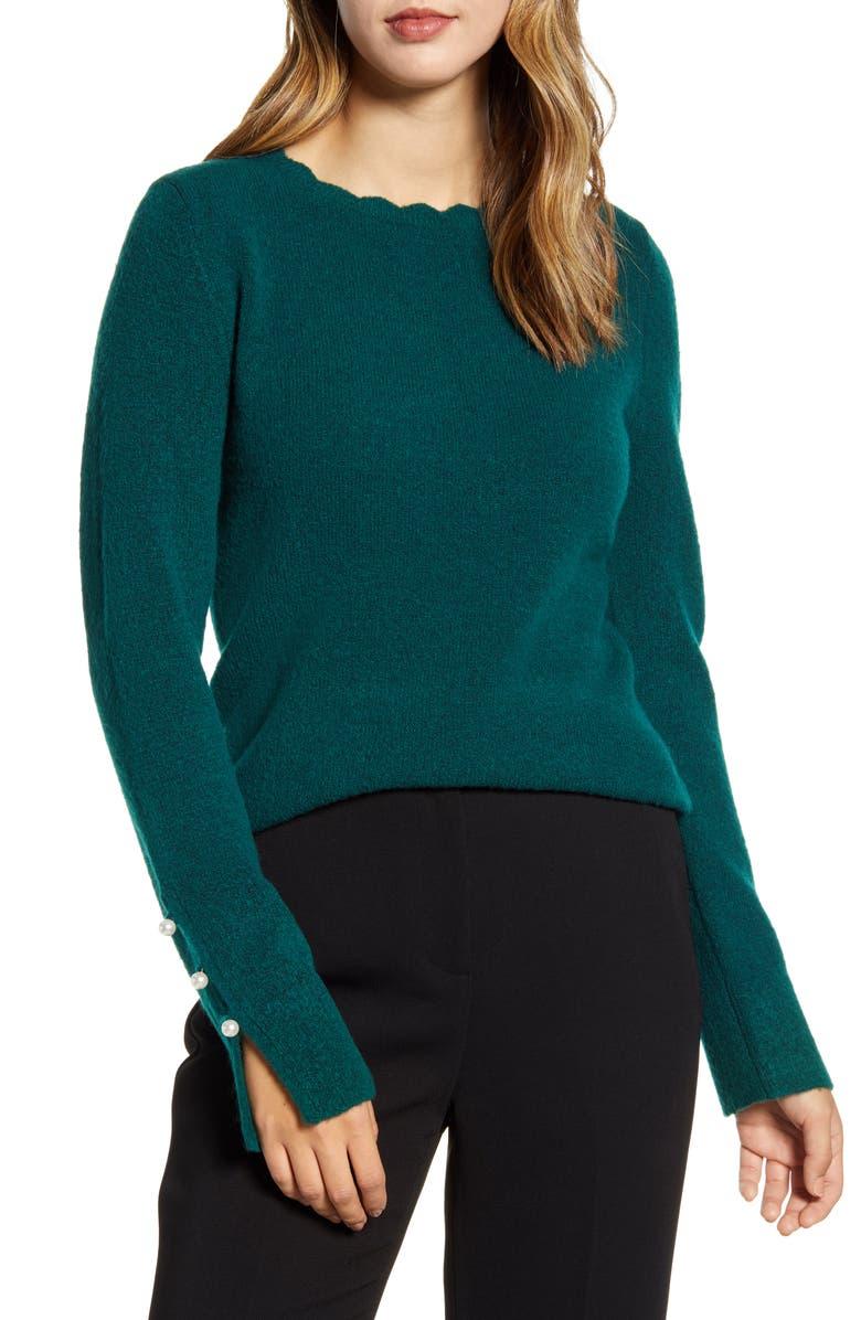 RACHEL PARCELL Scalloped Crewneck Sweater, Main, color, GREEN BOTANICAL