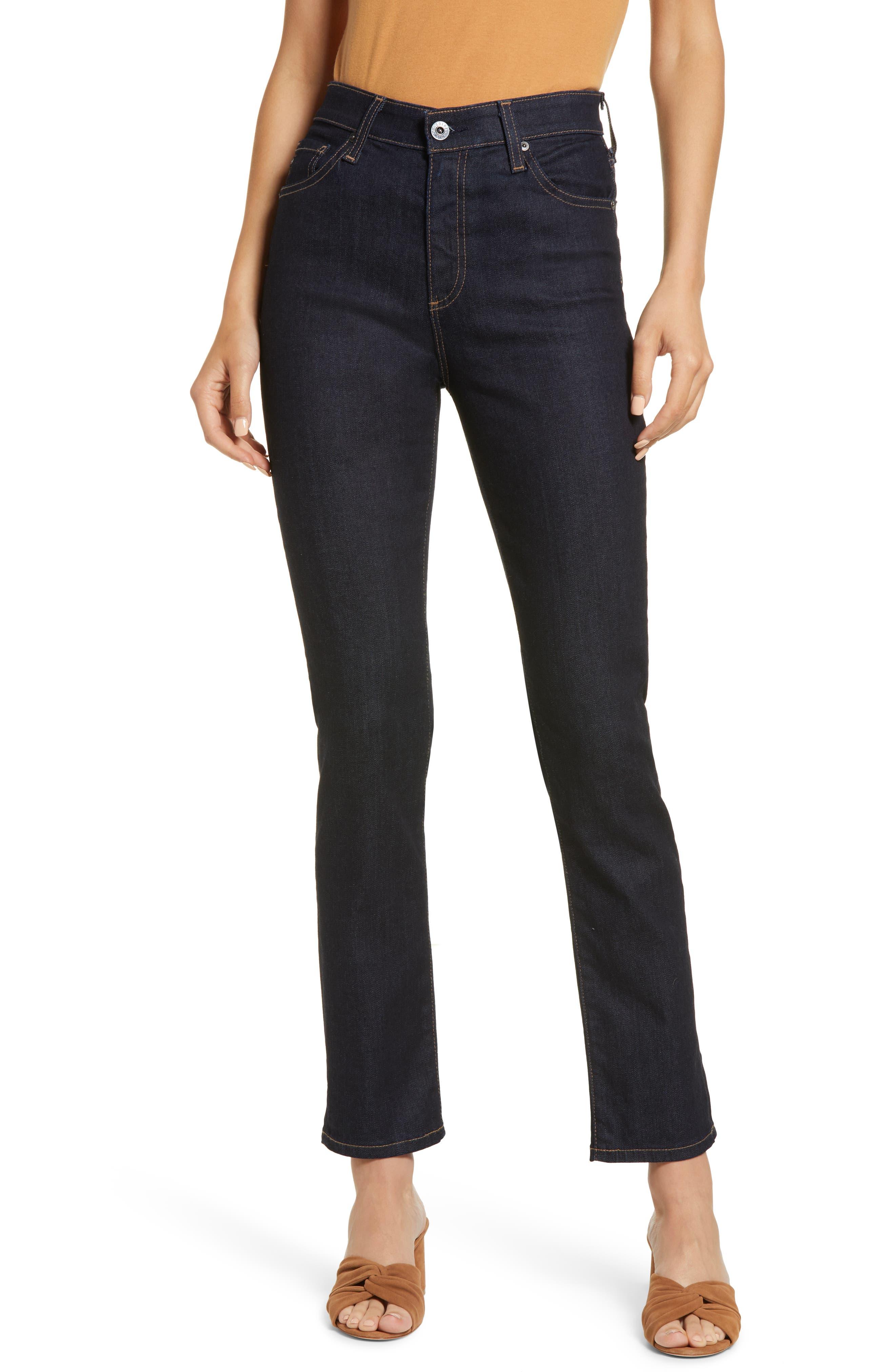 Mari High Waist Ankle Slim Straight Leg Jeans