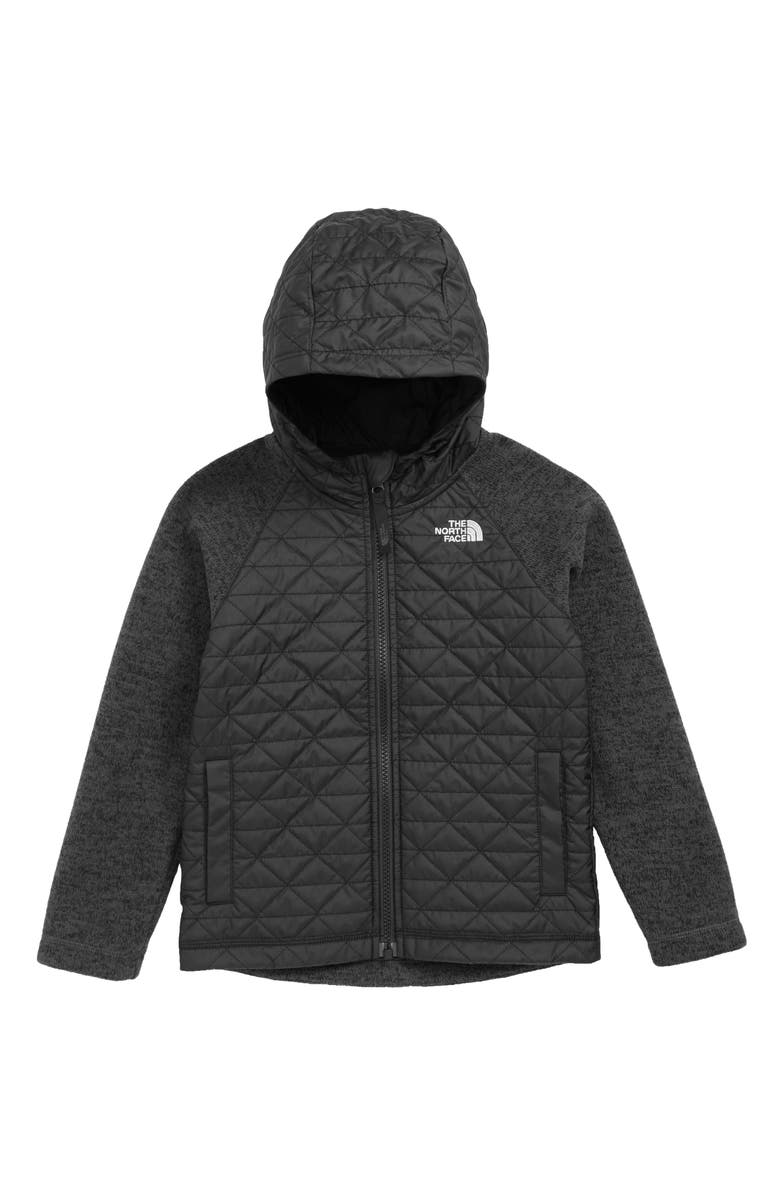 THE NORTH FACE Water Repellent Quilted Sweater Fleece Jacket, Main, color, TNF BLACK/ TNF BLACK HEATHER