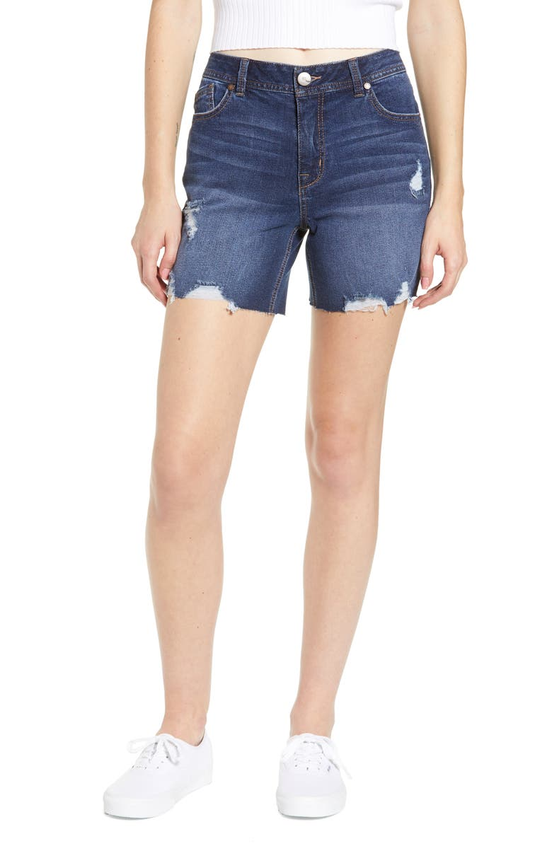 1822 DENIM Distressed Longline Denim Shorts, Main, color, ELENI