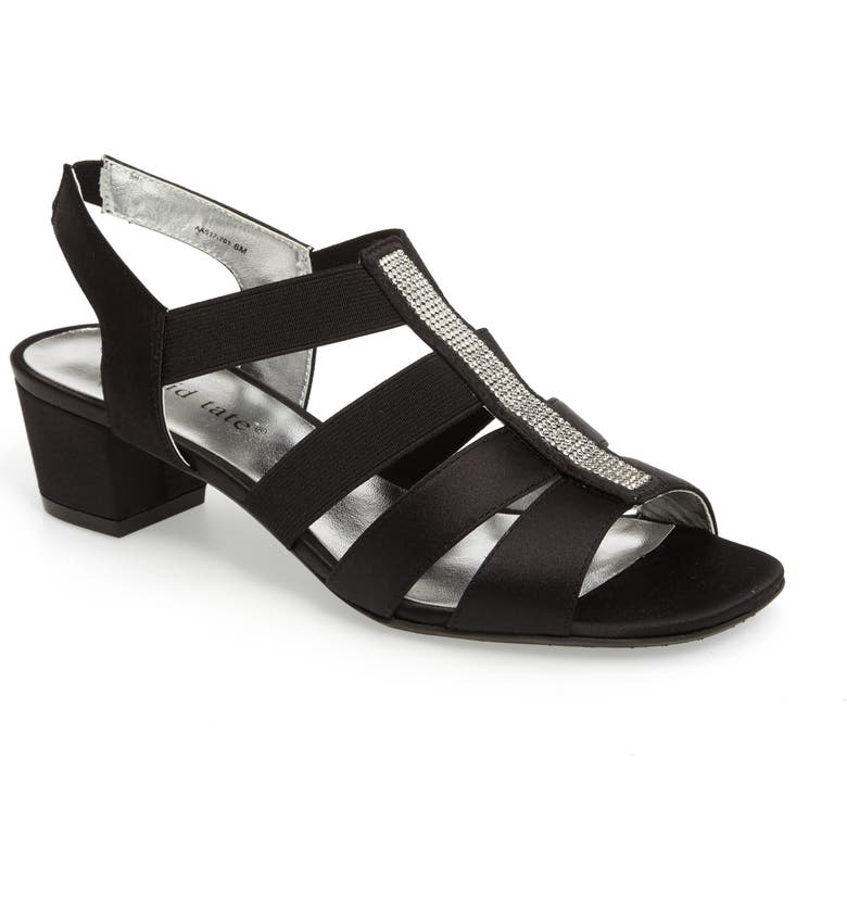DAVID TATE Eve Embellished Sandal, Main, color, BLACK FABRIC