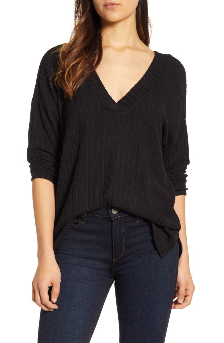 BOBEAU Ribbed Knit Double V-Neck Top, Main, color, BLACK