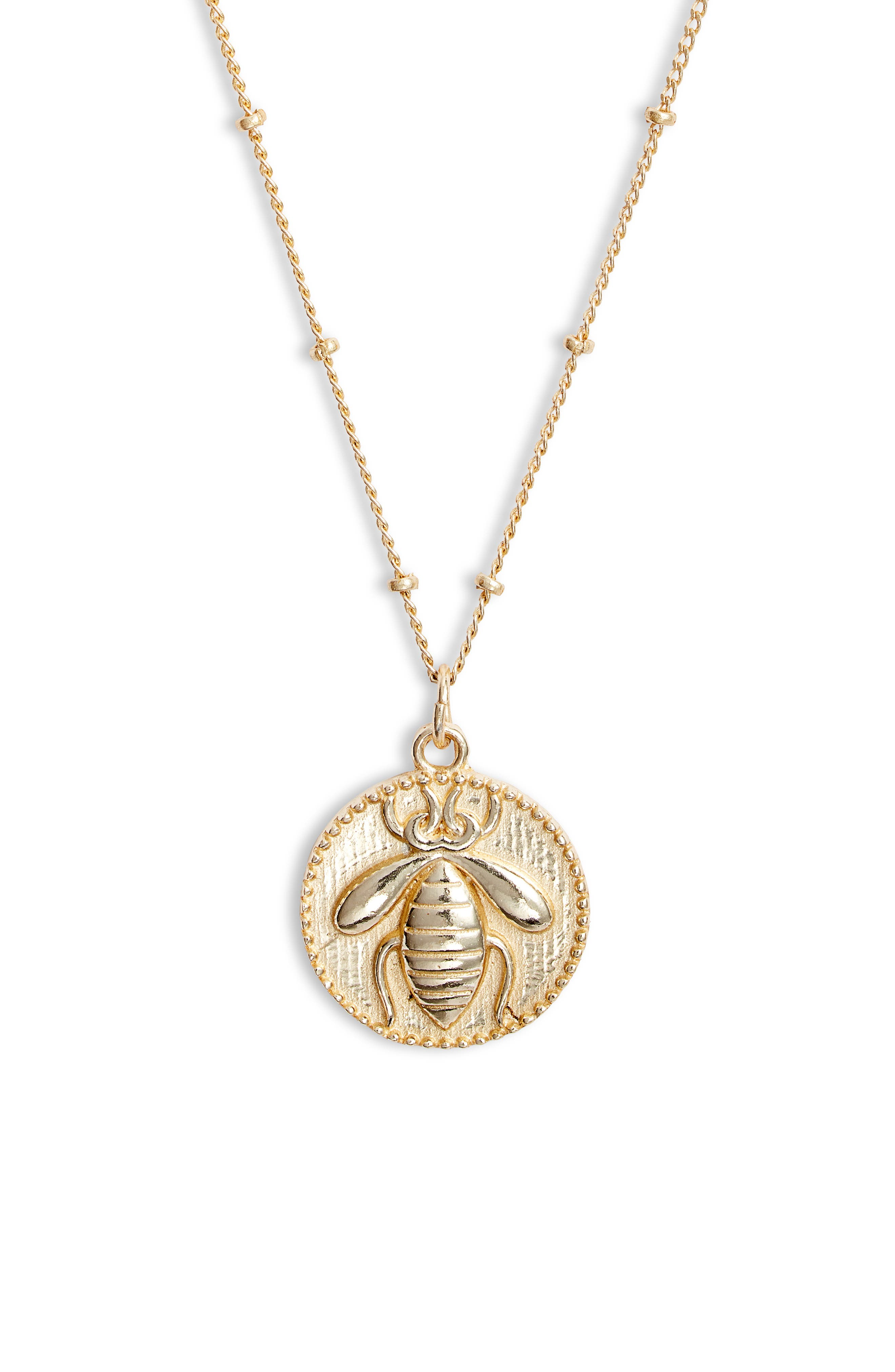 Collections by Joya Sterling Silver Bee Pendant Necklace in Gold at Nordstrom