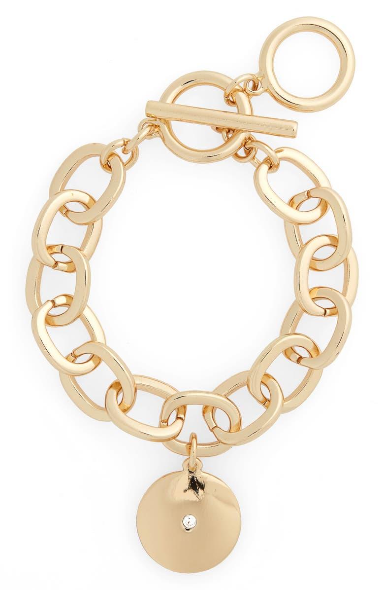HALOGEN<SUP>®</SUP> Medallion Charm Bracelet, Main, color, CLEAR- GOLD