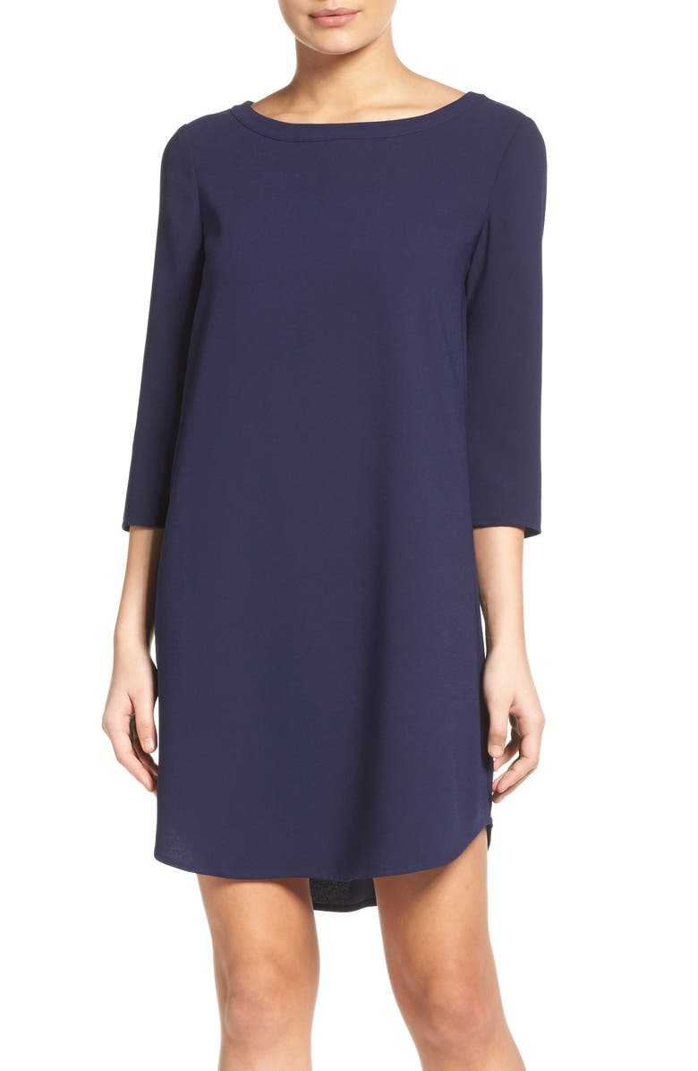 BB DAKOTA Jazlyn Crepe Shift Dress, Main, color, NAVY
