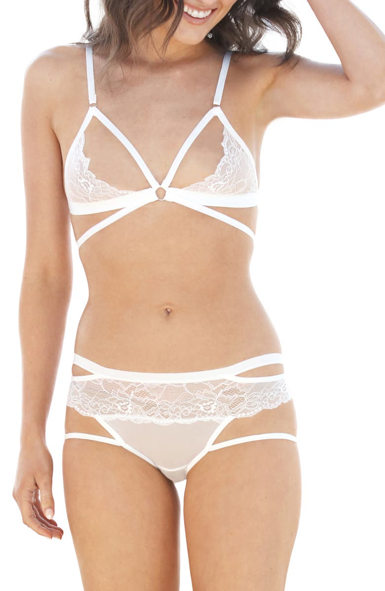 HONEYDEW INTIMATES Lucy Bralette & Hipster Panties Set, Main, color, 100