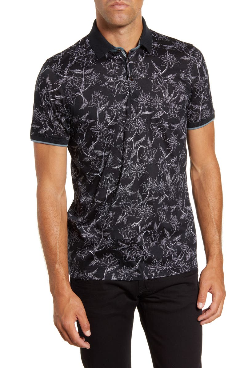 TED BAKER LONDON Slim Fit Linear Floral Print Polo, Main, color, BLACK