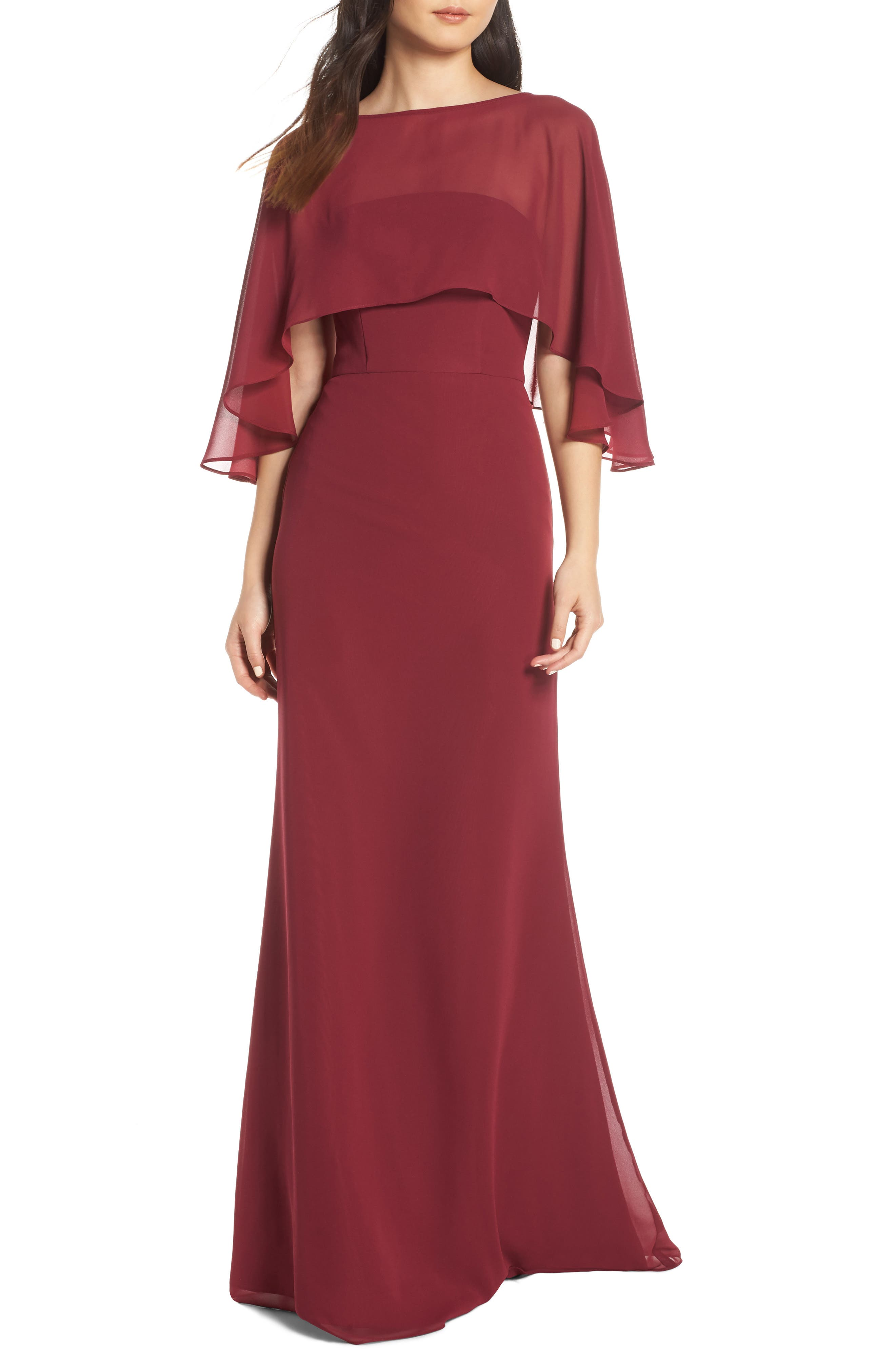Hayley Paige Occasions Strapless Chiffon Evening Dress With Cape, Burgundy